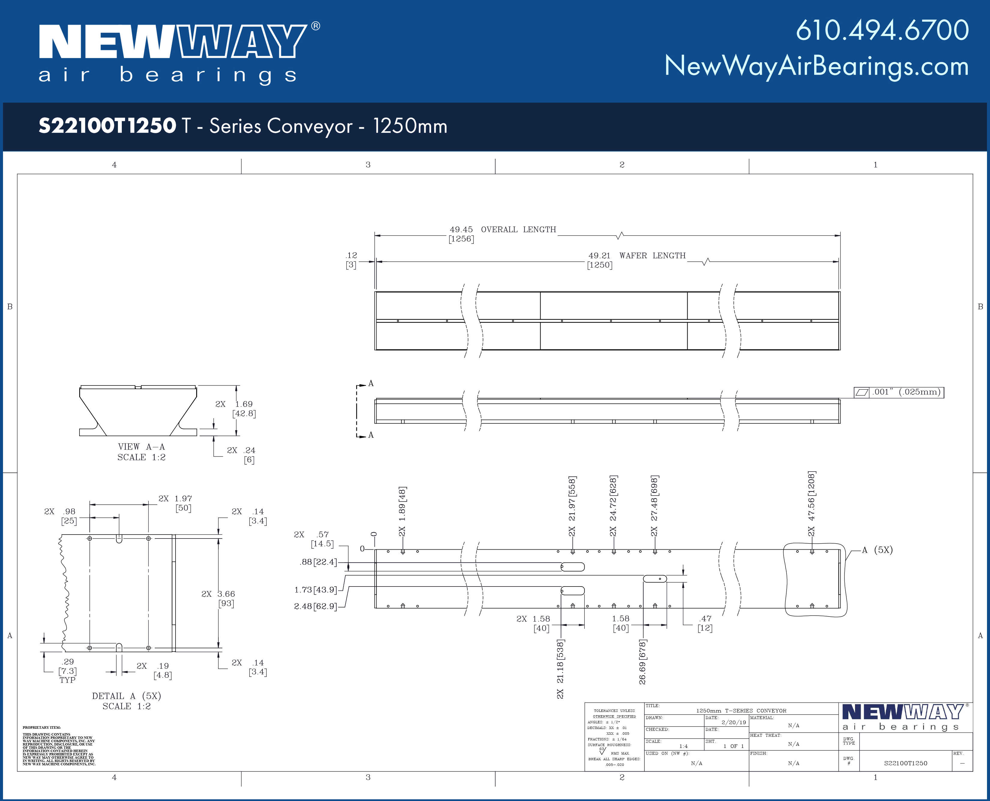 1250mm Transition Zone Air Bar - New Way Air Bearings
