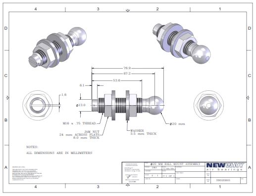 20mm ball mounting screws round end engineering drawings