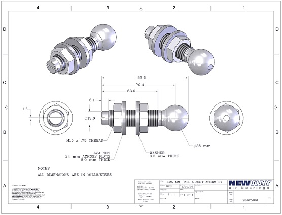25mm ball mounting screws round end engineering drawings