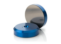 Two New Way® Flat Round Air Bearings showing both sides, including the Porous MediaTM face.