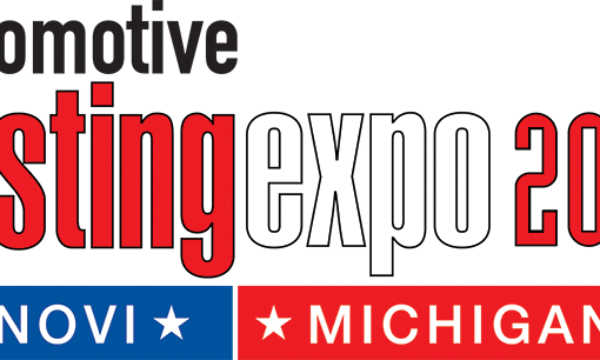Red, white, blue, and black image for the Automotive Testing Expo 2020 in Novi, Michigan.