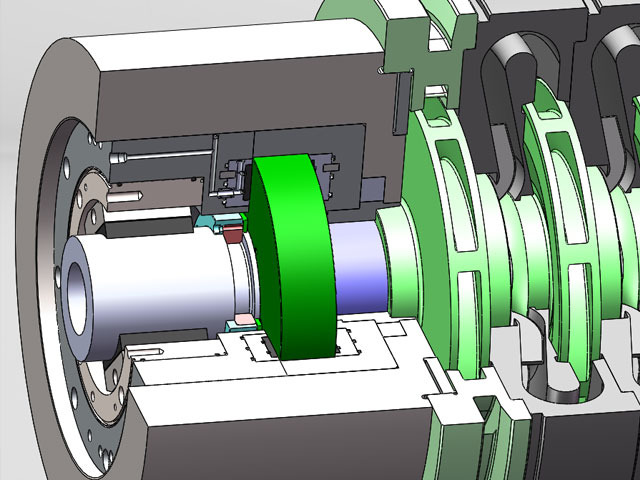 Externally pressurized thrust bearing for a centrifugal compressor.