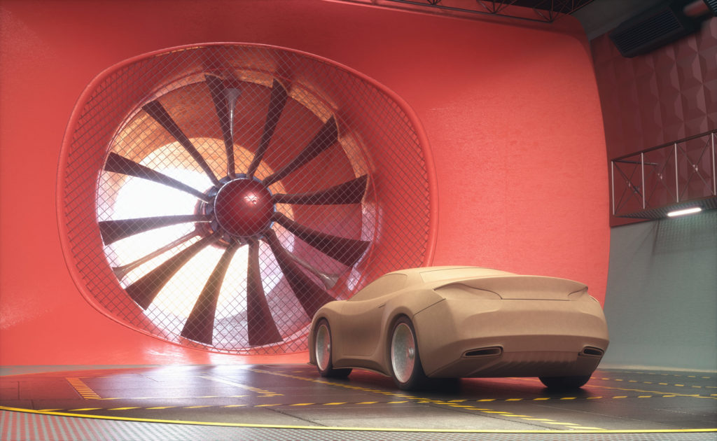3D illustration of clay car inside a wind tunnel.